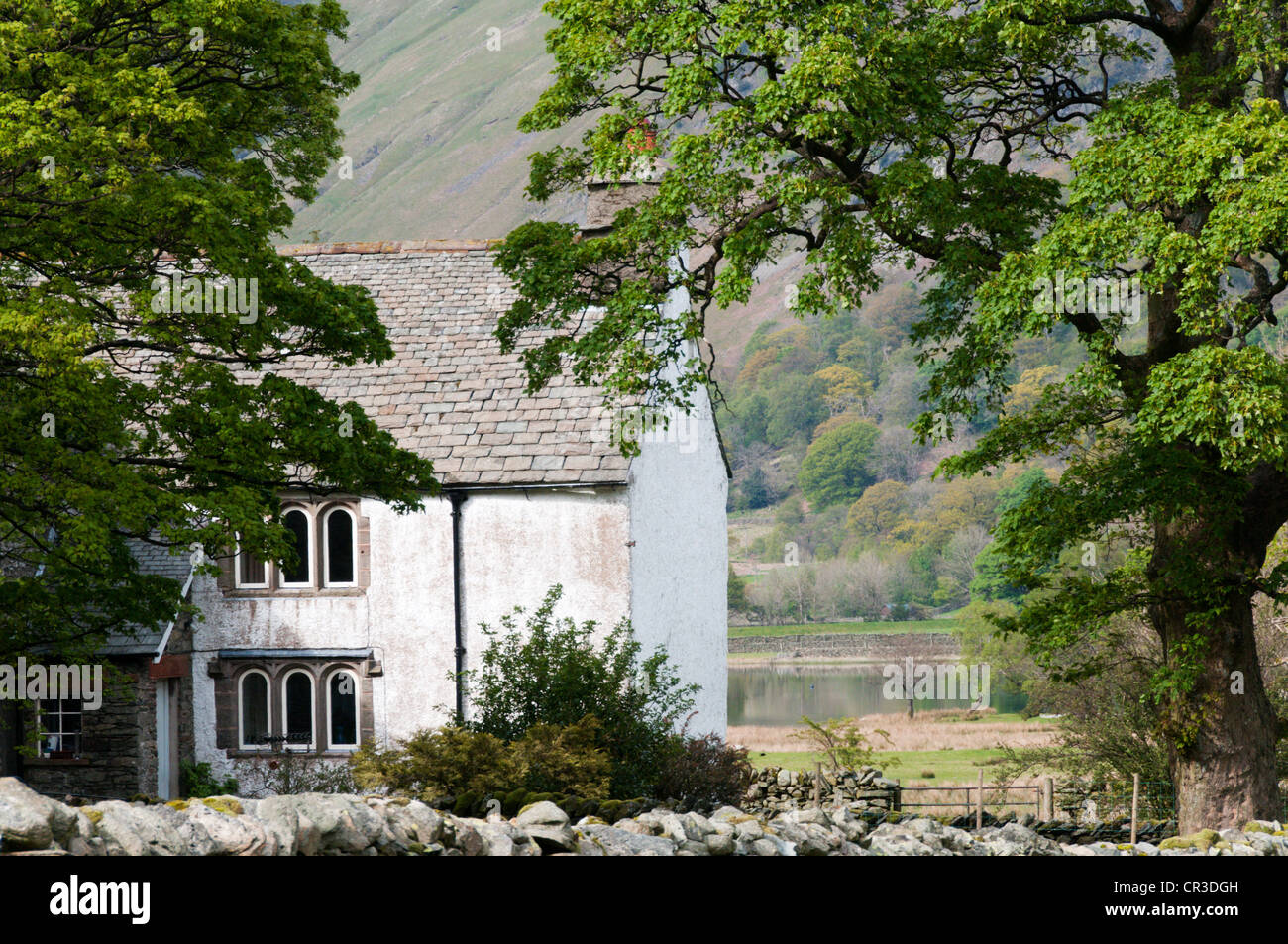 Hartsop Hall next to Brothers Water in the English Lake District. - Stock Image