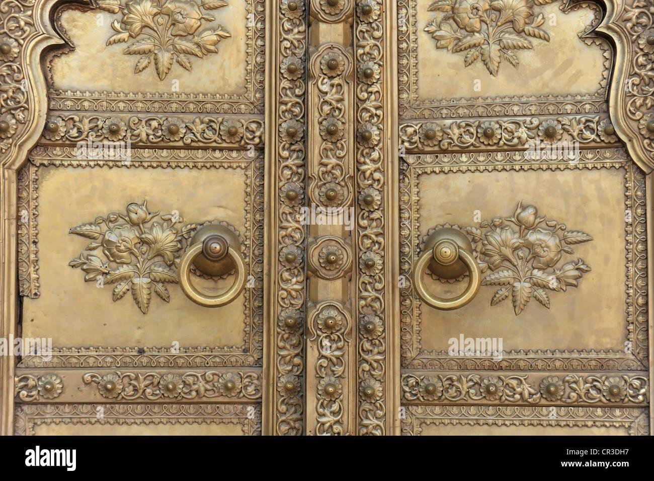 Detail, entrance door, Chandra Mahal city palace, Jaipur, Rajasthan, North India, India, South Asia, Asia - Stock Image