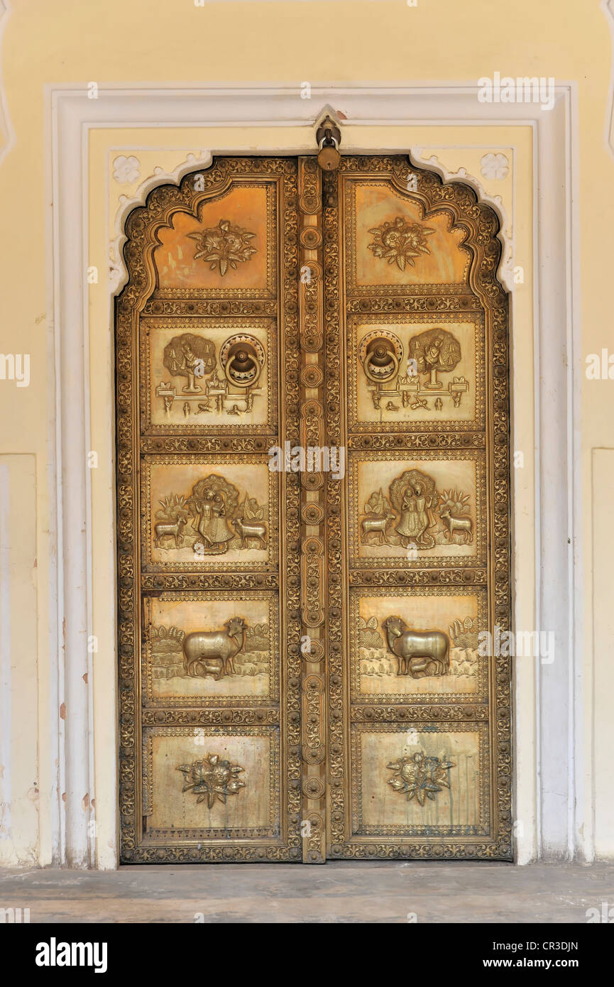 Entrance, Chandra Mahal, City Palace, Jaipur, Rajasthan, North India, India, South Asia, Asia - Stock Image