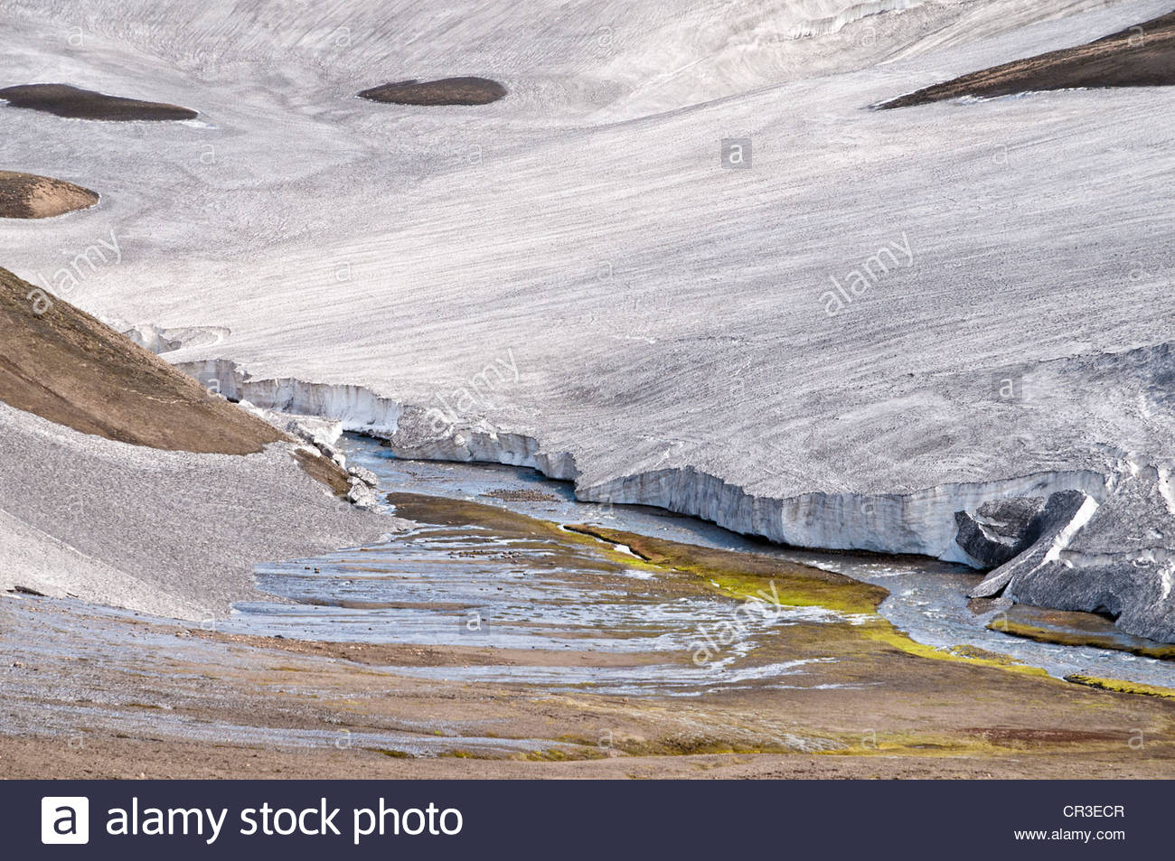 Valley of the Storihver hot springs, on the Laugavegur hiking trail, Highlands of Iceland, Landmannalaugar region, - Stock Image