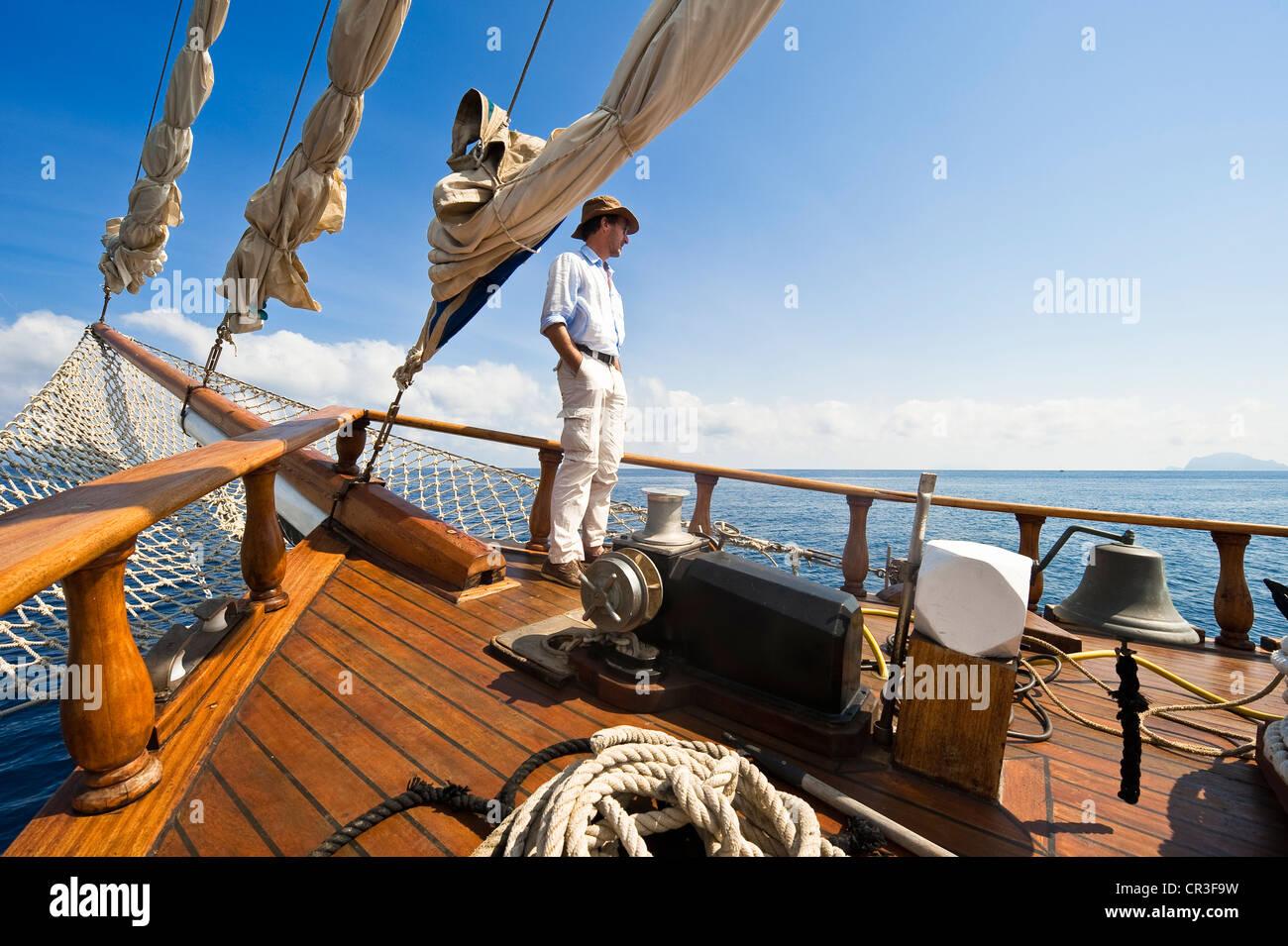 Italy Sicily Aeolian Islands listed as World Heritage by UNESCO Salina Island Sigismondo Schooner coastal navigation Stock Photo