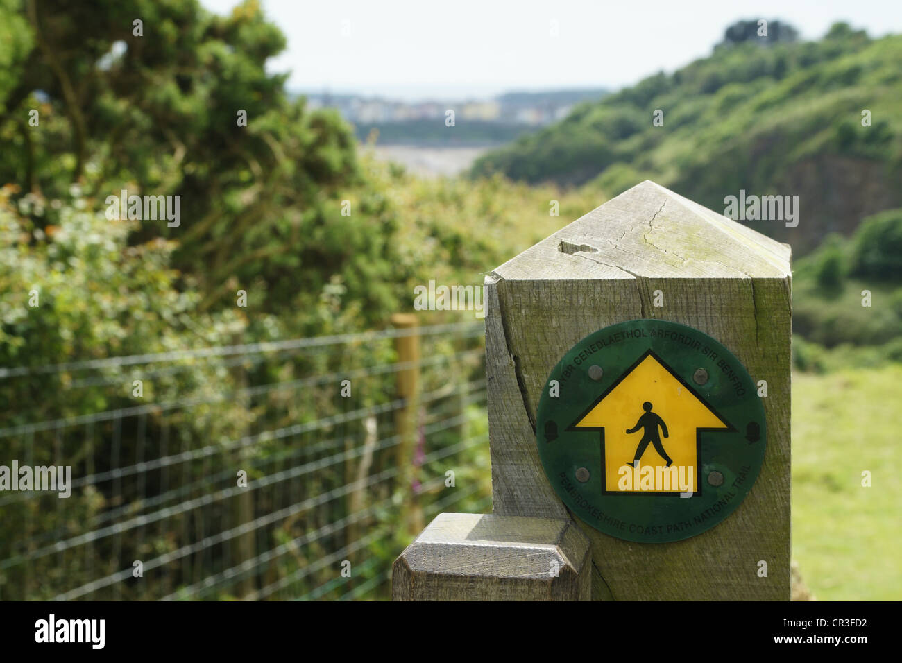 Signpost on the Pembrokeshire Coastal Path - Stock Image