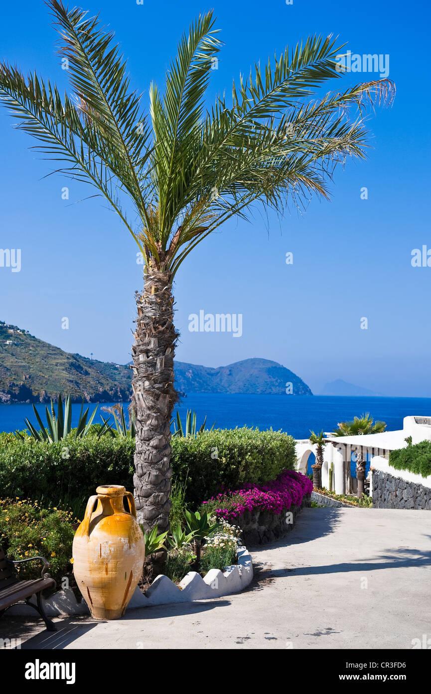 Italy, Sicily, Aeolian Islands, UNESCO World Heritage, Vulcano Island, Vulcanello Peninsula, Therasia Resort Stock Photo