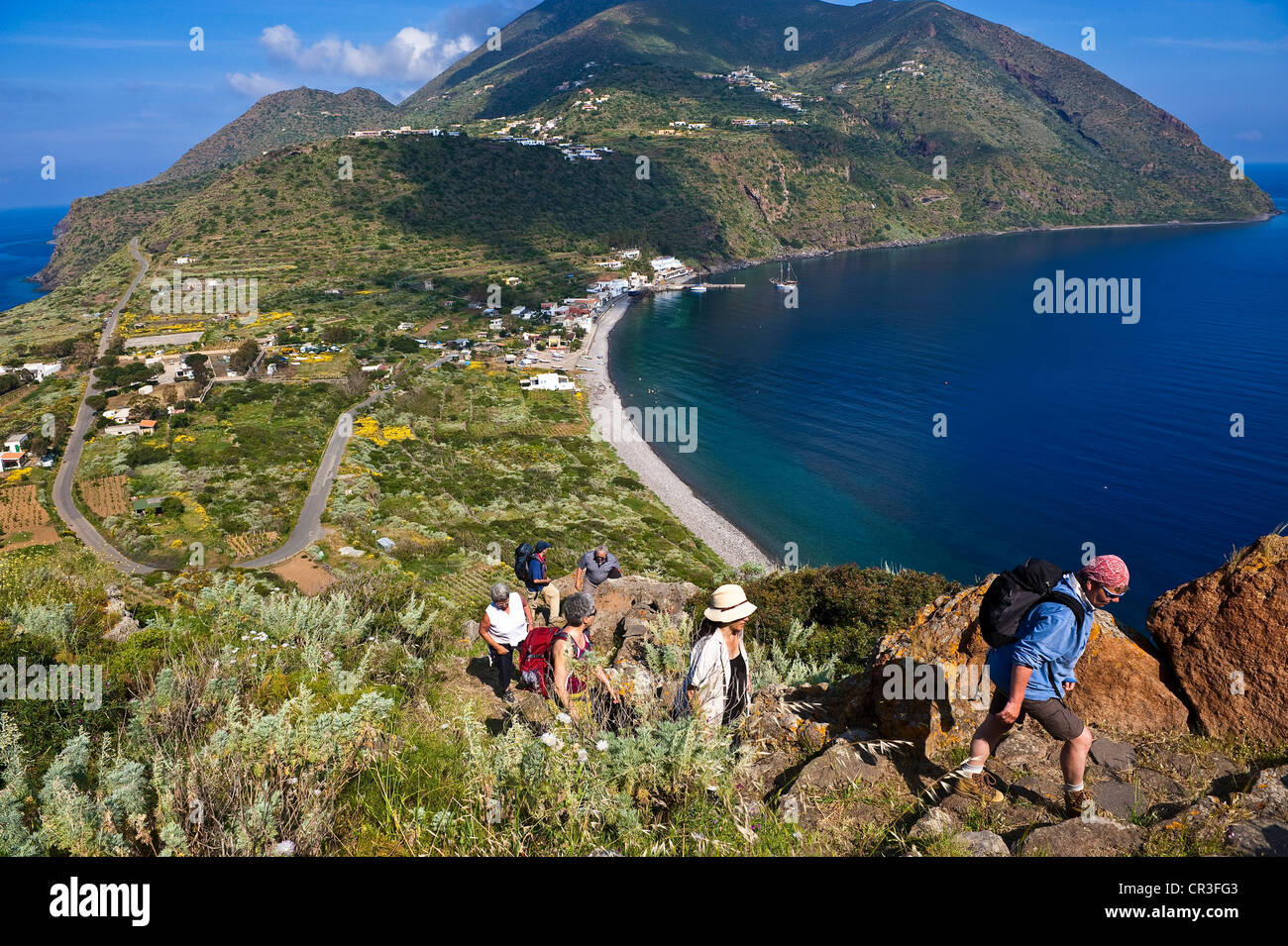 Italy Sicily Aeolian Islands listed as World Heritage by UNESCO Filicudi Island Capo Graziano hiking to see ruins Stock Photo