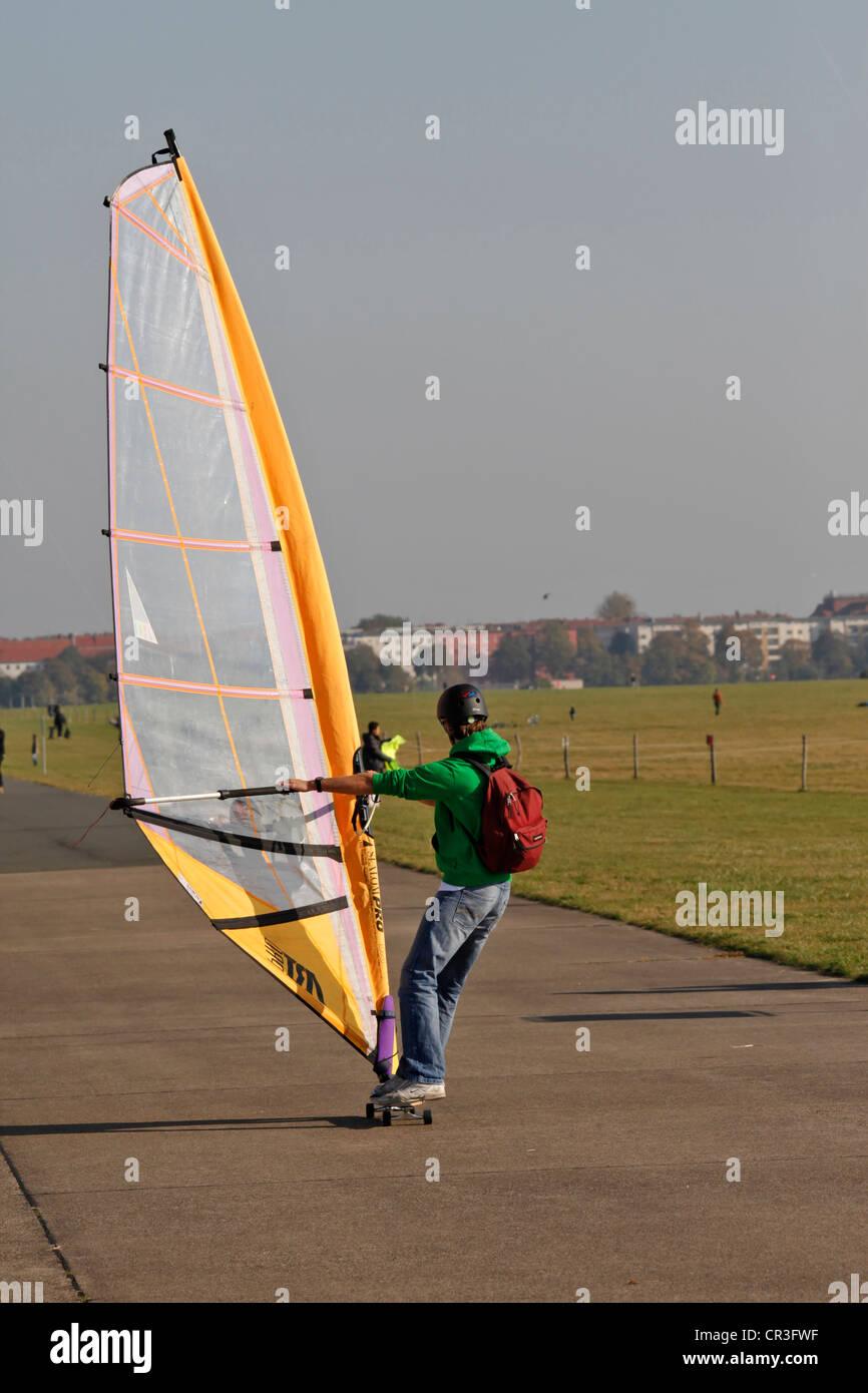 Windskater in the grounds of former Tempelhof Airport, Tempelhofer Feld, park was opened in 2010, Kreuzberg, Neukoelln - Stock Image