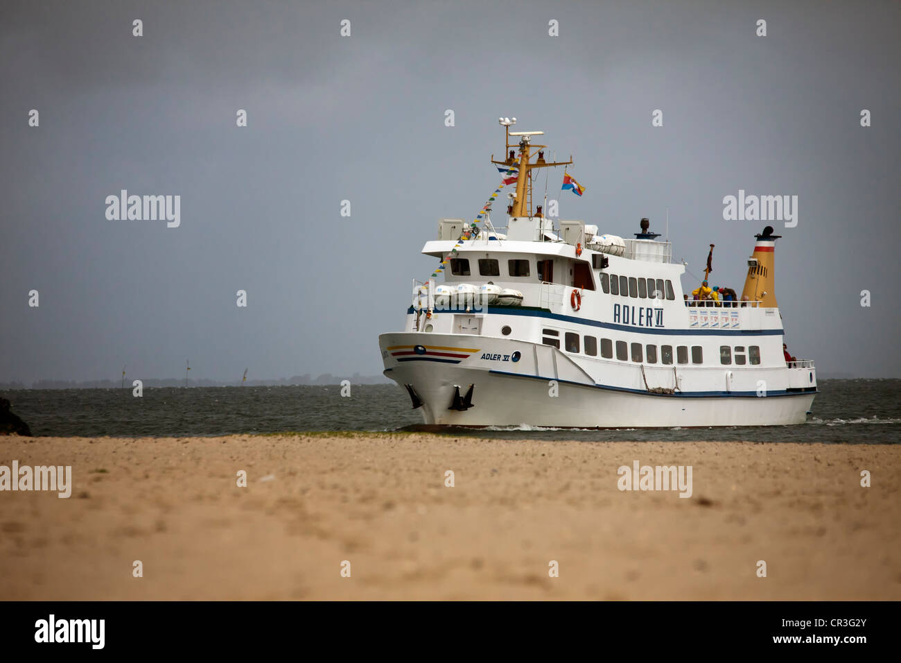 Adler VI ferry, with three decks and room for up to 200 people, Hoernum, North Frisian Island, Schleswig-Holstein Stock Photo