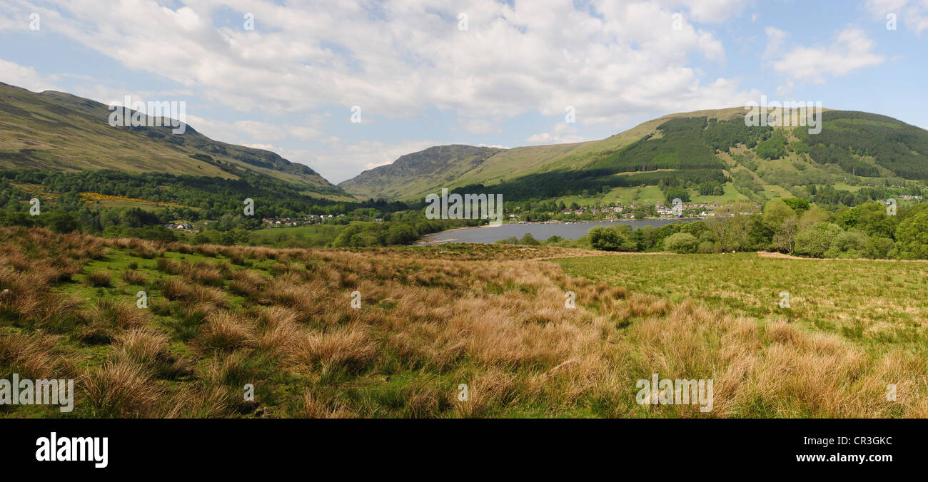 Panoramic view of Loch Earn and Lochearnhead, Perthshire from the south road around the loch - Stock Image