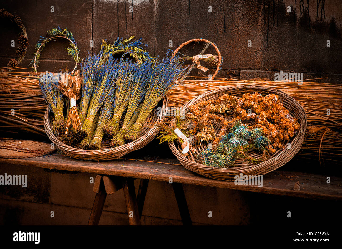 Paris market still life circa 1800 with bunches of lavender, nosegays and other decorations Stock Photo