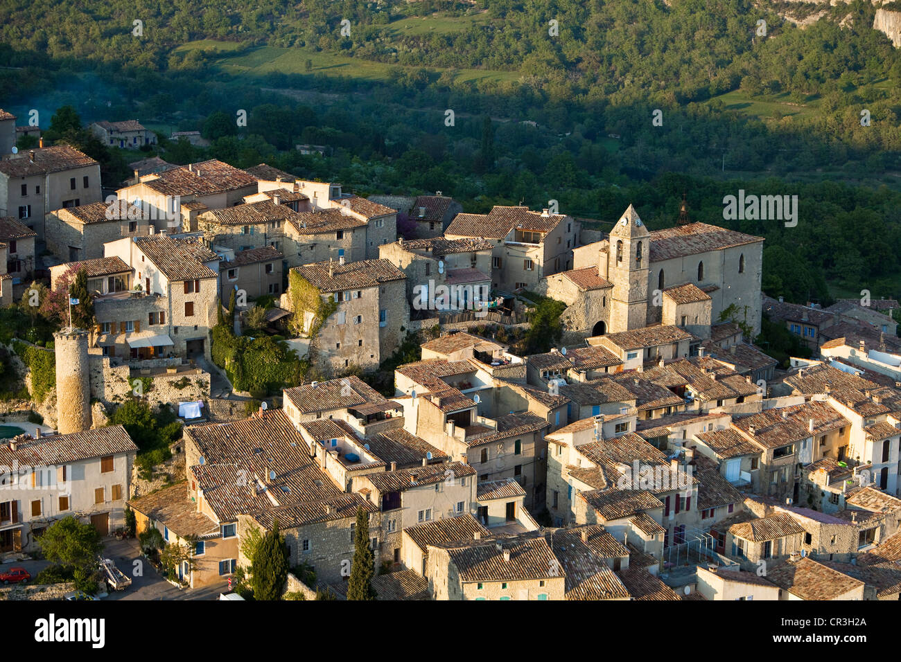france vaucluse luberon viens aerial view stock photo 48637074