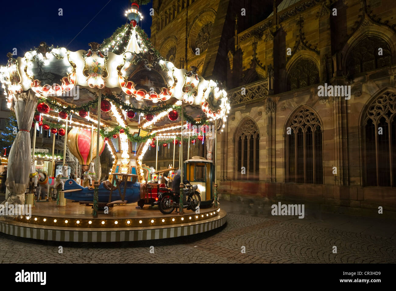 carousel christmas market in strasbourg alsace france europe stock image