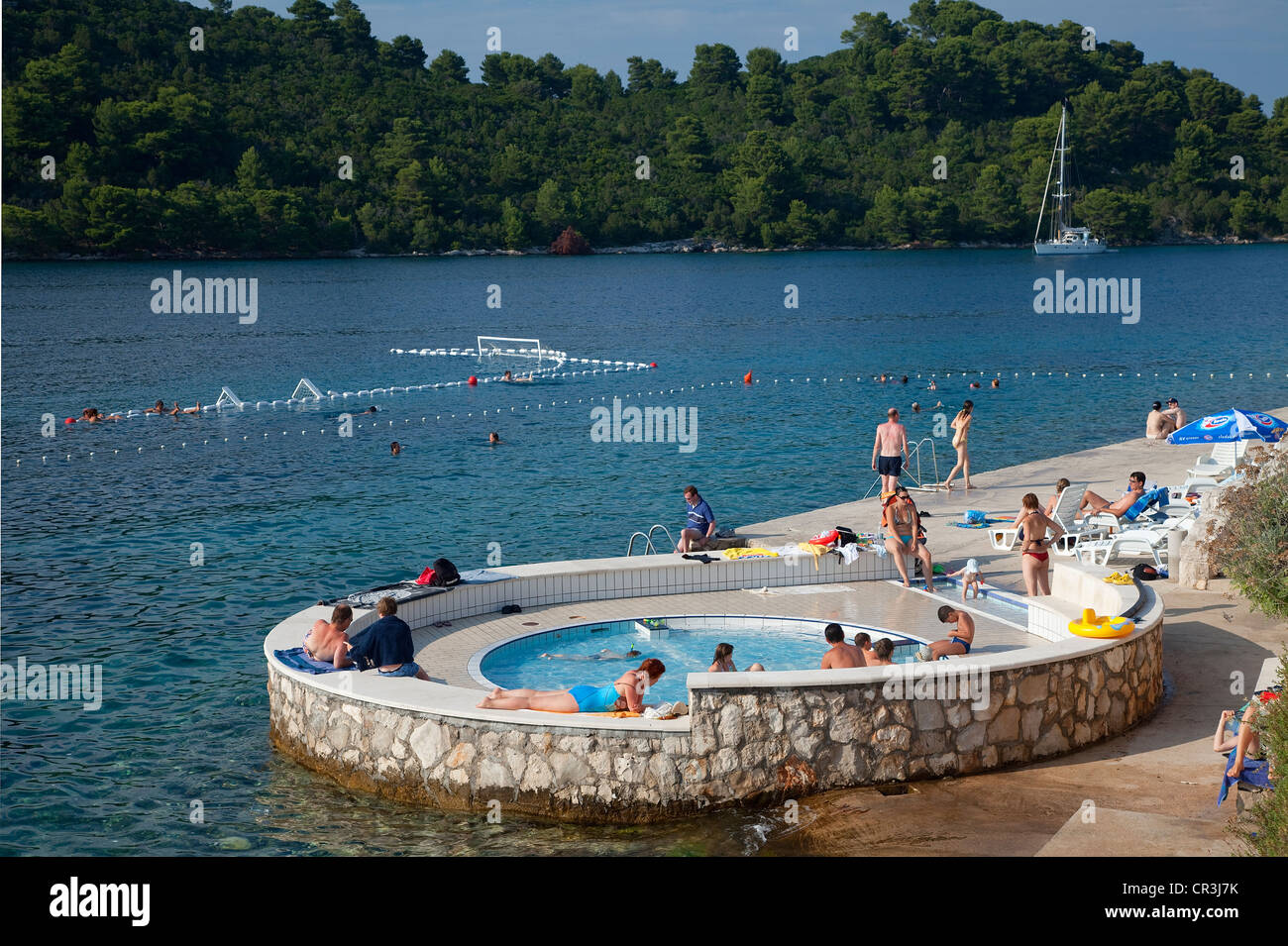 Croatia, Dalmatia, Dalmatian Coast, National Park of Mljet Island, Pomena Harbour - Stock Image