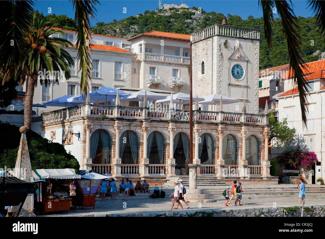 Croatia, Dalmatia, Dalmatian Coast, Hvar Island, Hvar City, luxury hotel - Stock Image