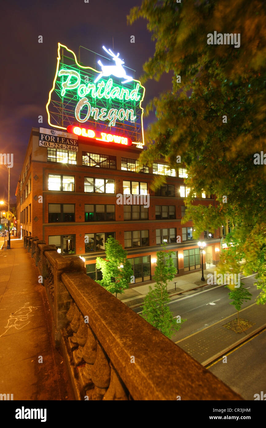 Portland Oregon, Neon Sign, Old Town Portland - Stock Image