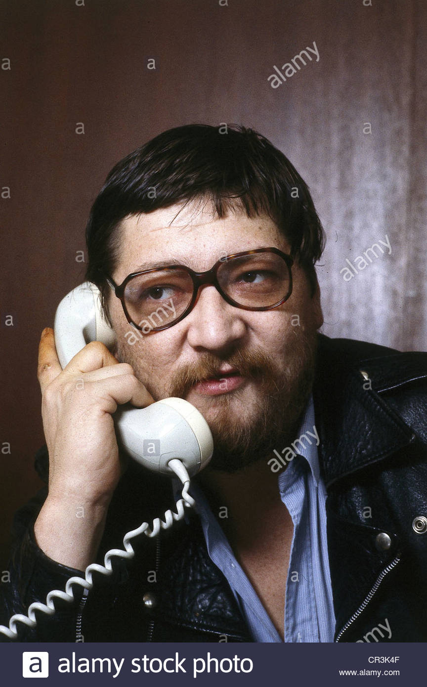 Fassbinder, Rainer Werner, 31.5.1946 - 10.6.1982, German director, portrait, talking on the phone, early 1980s, - Stock Image