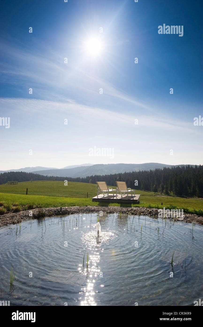 Swimming pool of Halde Hotel on Mt Schauinsland, Freiburg im Breisgau, Black Forest, Baden-Wuerttemberg, Germany, - Stock Image