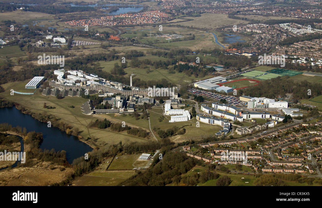 aerial view of the University of East Anglia Norwich - Stock Image