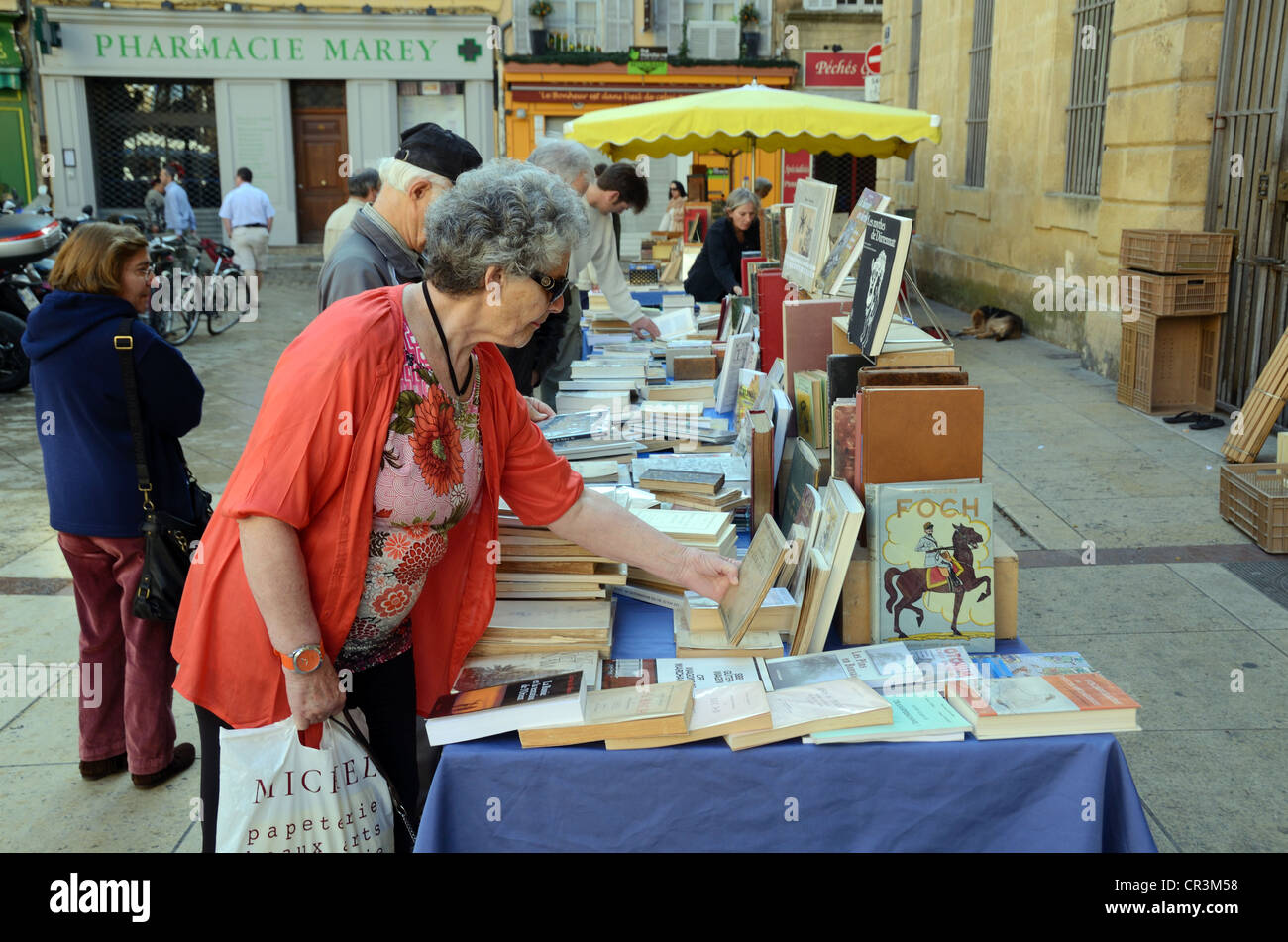 Customer Browsing at Book Fair or Second-Hand Book Stall Aix-en-Provence Provence France - Stock Image