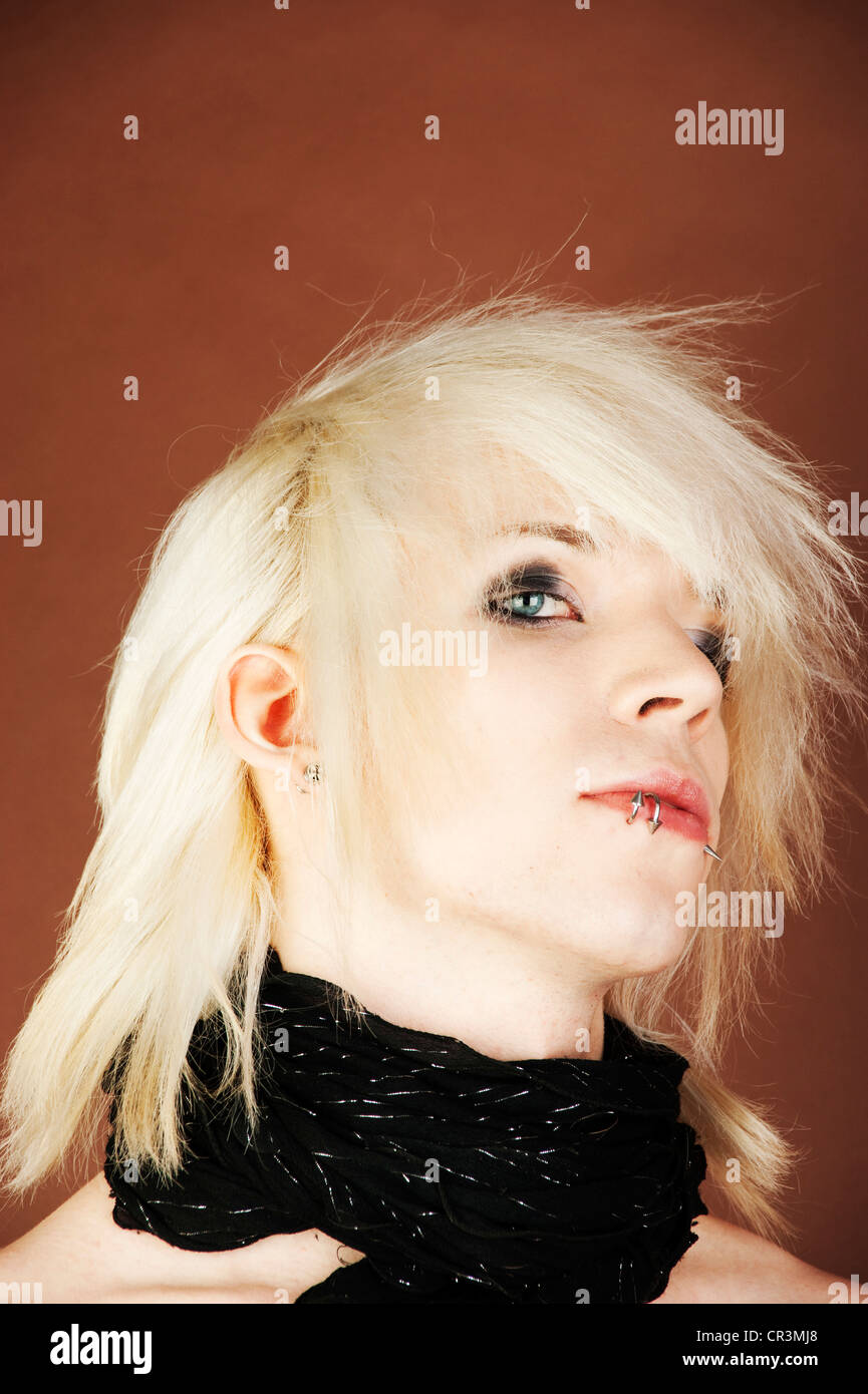 Man, Gothic, manga, blond, pierced, portrait Stock Photo