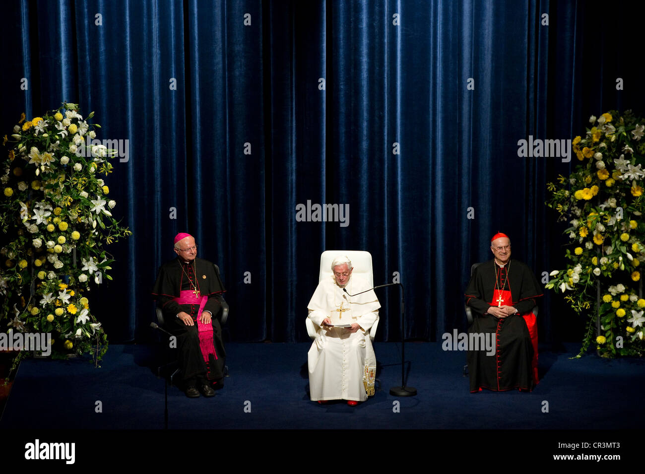 Visit of Pope Benedict XVI on 25th September 2011, speech at Freiburg Concert Hall, together with Robert Zollitsch, - Stock Image