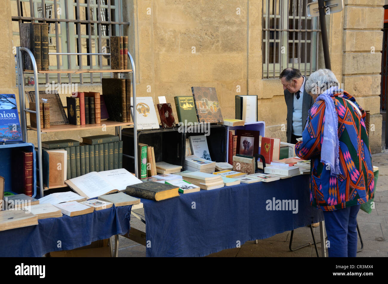 Book Fair, Second-hand Book Stall or Book Seller Place de la Mairie Aix-en-Provence Provence France - Stock Image