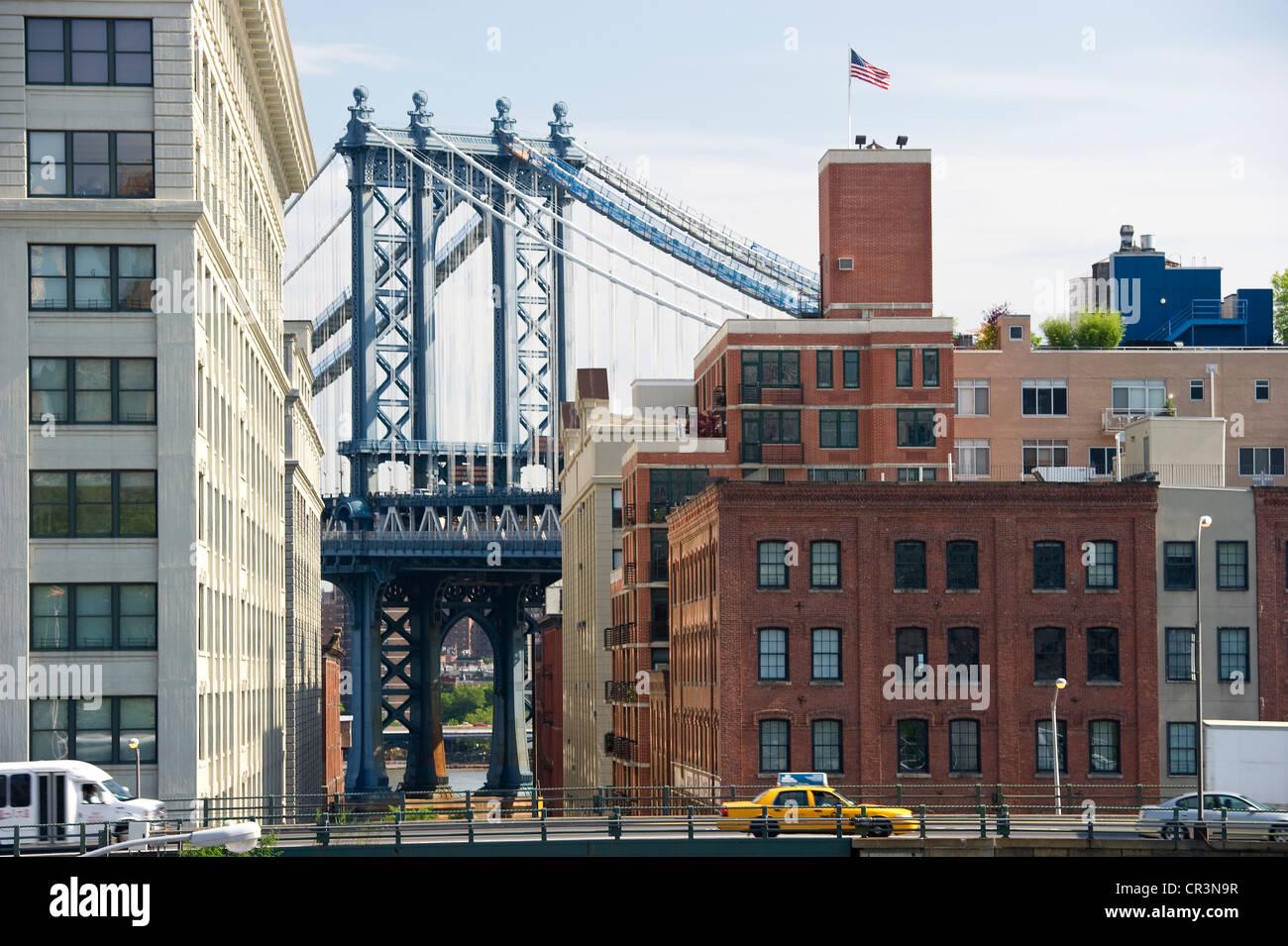 Manhattan Bridge, Brooklyn Heights, New York, USA - Stock Image