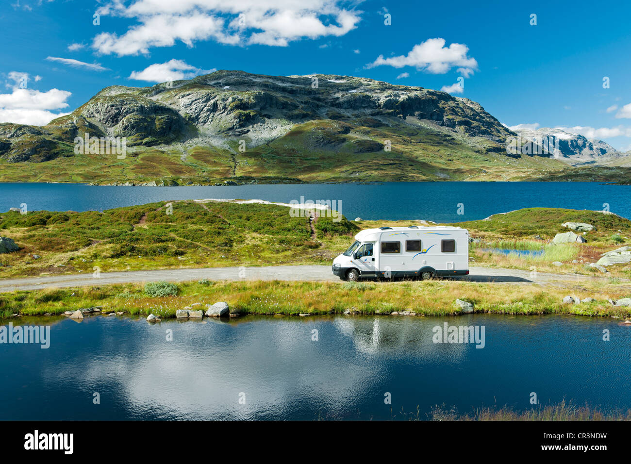 Campervan, camping in the mountains at lake Stavatn, Telemark, Norway, Europe - Stock Image