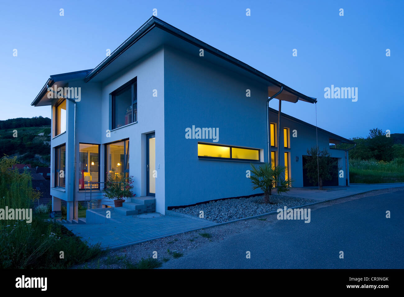 Modern detached house, blue hour, Kaiserstuhl, Baden-Wuerttemberg, Germany, Europe Stock Photo