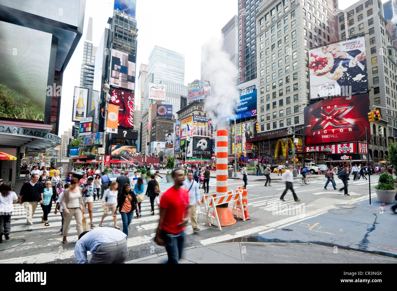 Morning rush hour in Times Square, Manhattan, New York, USA - Stock Image