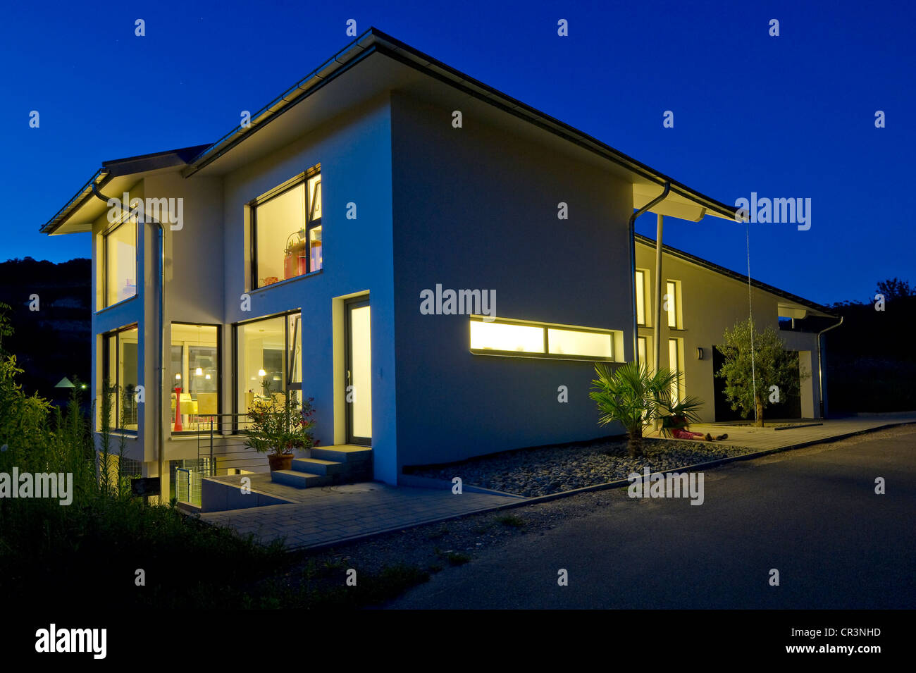 Modern detached house, blue hour, Kaiserstuhl, Baden-Wuerttemberg, Germany, Europe - Stock Image