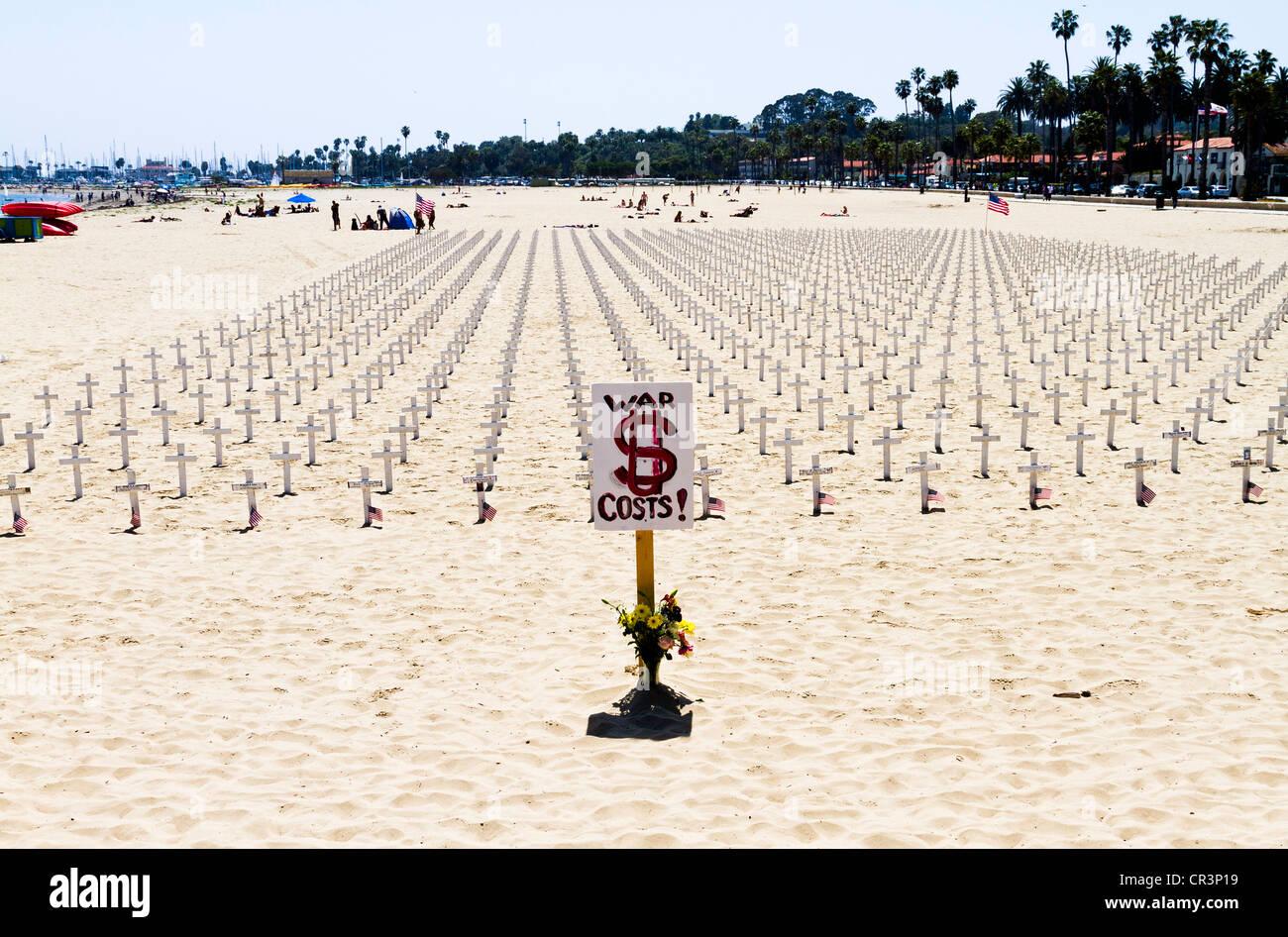 'Arlington West' memorial in 'Santa Barbara' California - Stock Image
