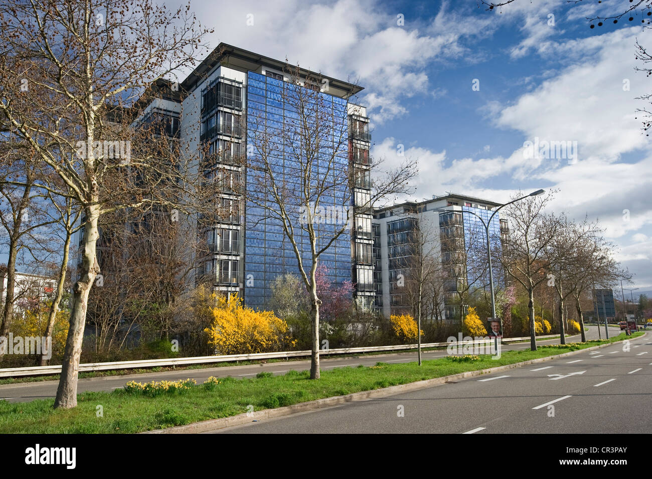 high rise building with a solar facade freiburg im breisgau stock photo 48641235 alamy. Black Bedroom Furniture Sets. Home Design Ideas