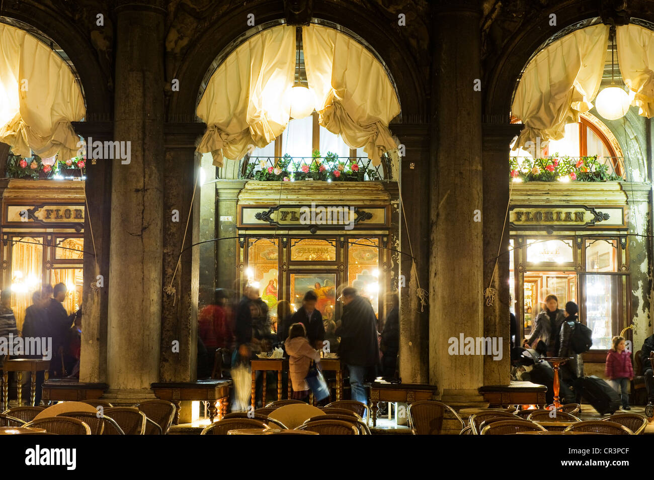 Caffè Florian coffee house on St Mark's Square, Piazza San Marco square, Venice, Italy, Europe - Stock Image