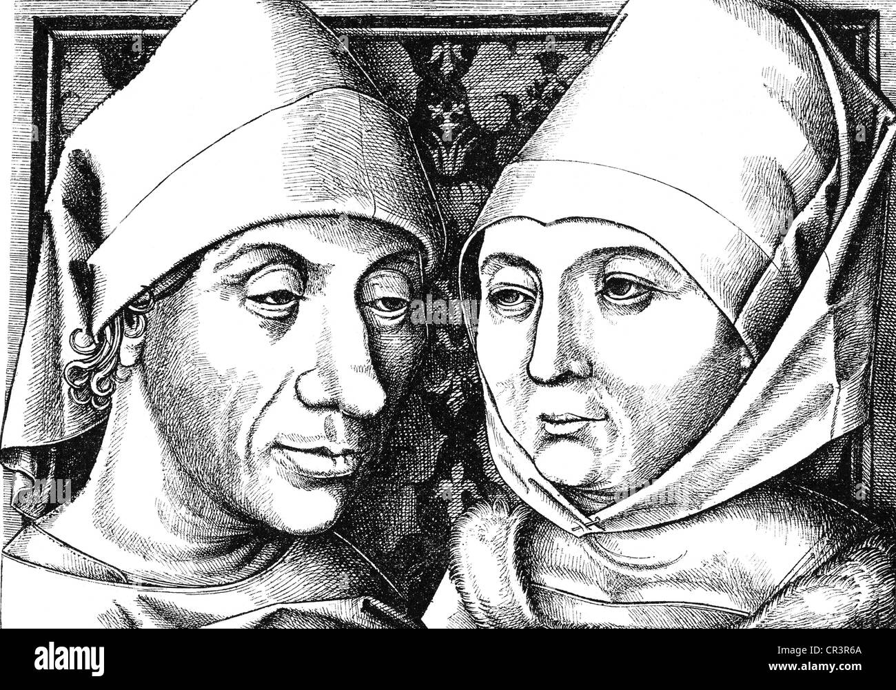 Meckenem, Israhel van, the Younger, circa 1440 - 10.11.1503, German copperplate engraver, self-portrait with wife - Stock Image