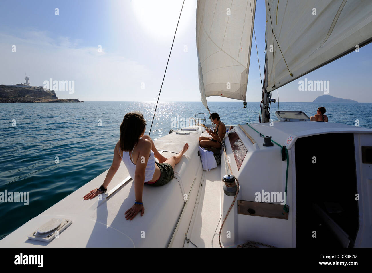 Morocco, Oriental Region, on catamaran board off Ras Kebdana (also called Cabo de Agua) - Stock Image