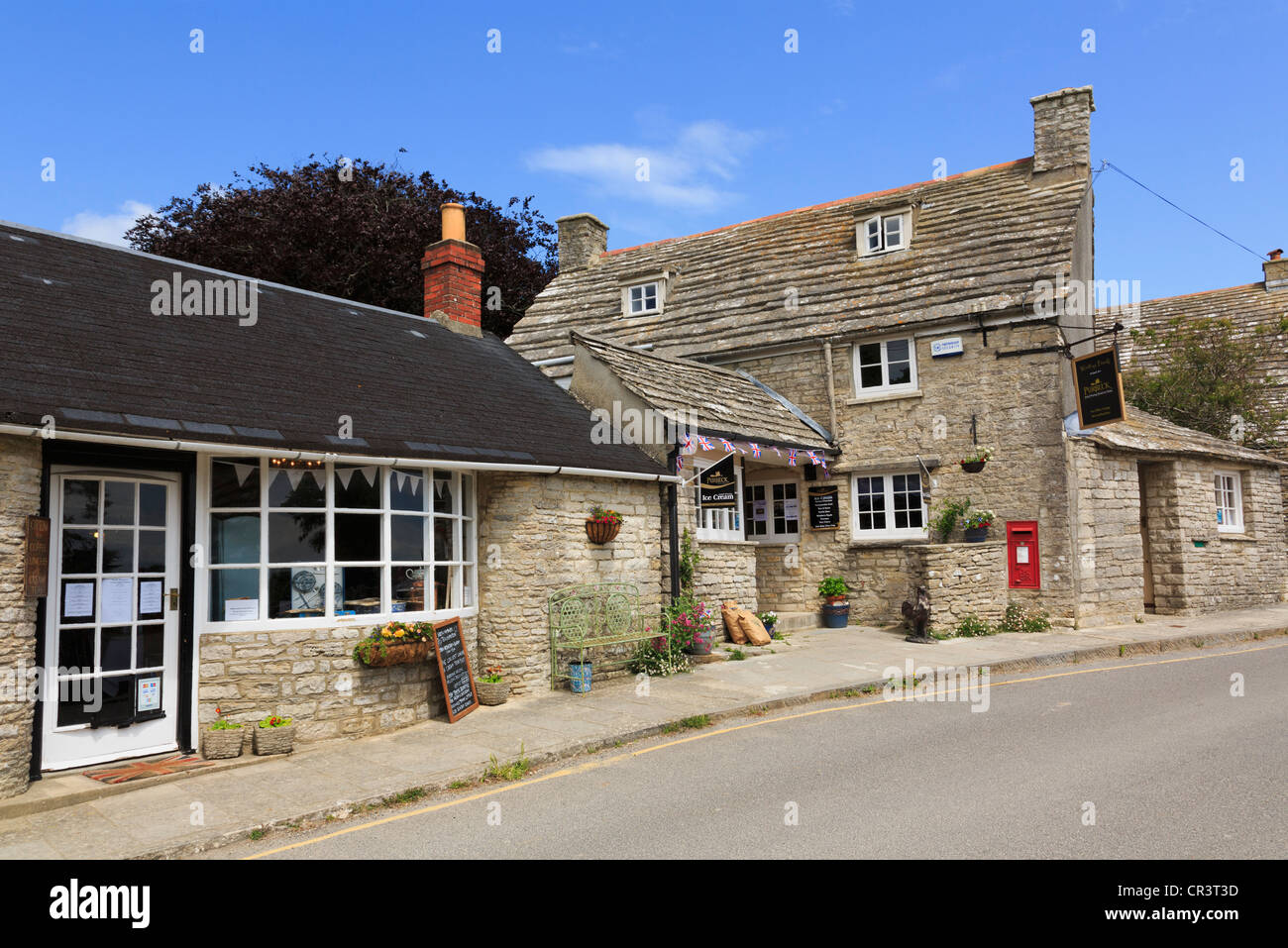 Purbeck ice cream shop and tea rooms in historic old village of Worth Matravers Isle of Purbeck Dorset England UK - Stock Image