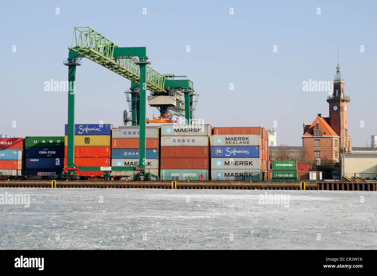 Frozen, icy harbour, container terminal, port authorities, inland port, Dortmund, Ruhr Area, North Rhine-Westphalia - Stock Image