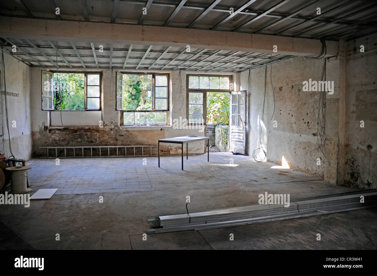 Windows, ceiling, old building, redevelopment, housing, house building, construction site, North Rhine-Westphalia - Stock Image