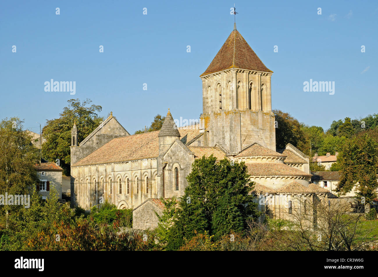 Eglise Saint Hilaire church, French Way, Way of St James, Melle, Poitiers, Department of Deux-Sevres, Poitou-Charentes, - Stock Image