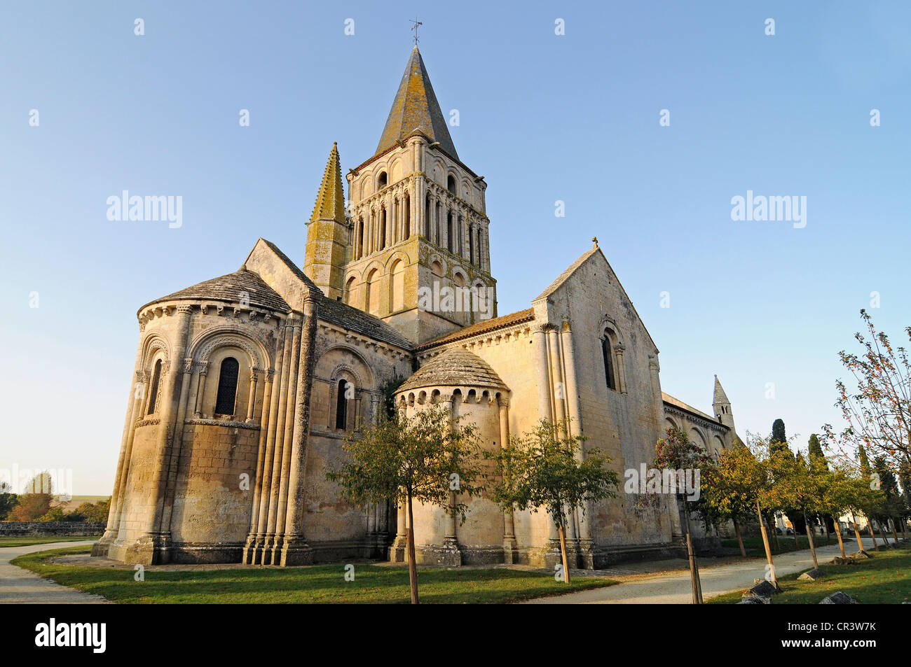 Eglise Saint Pierre church, French Way, Way of St James, Aulnay, Charente-Maritime, Poitou-Charentes, France, Europe - Stock Image