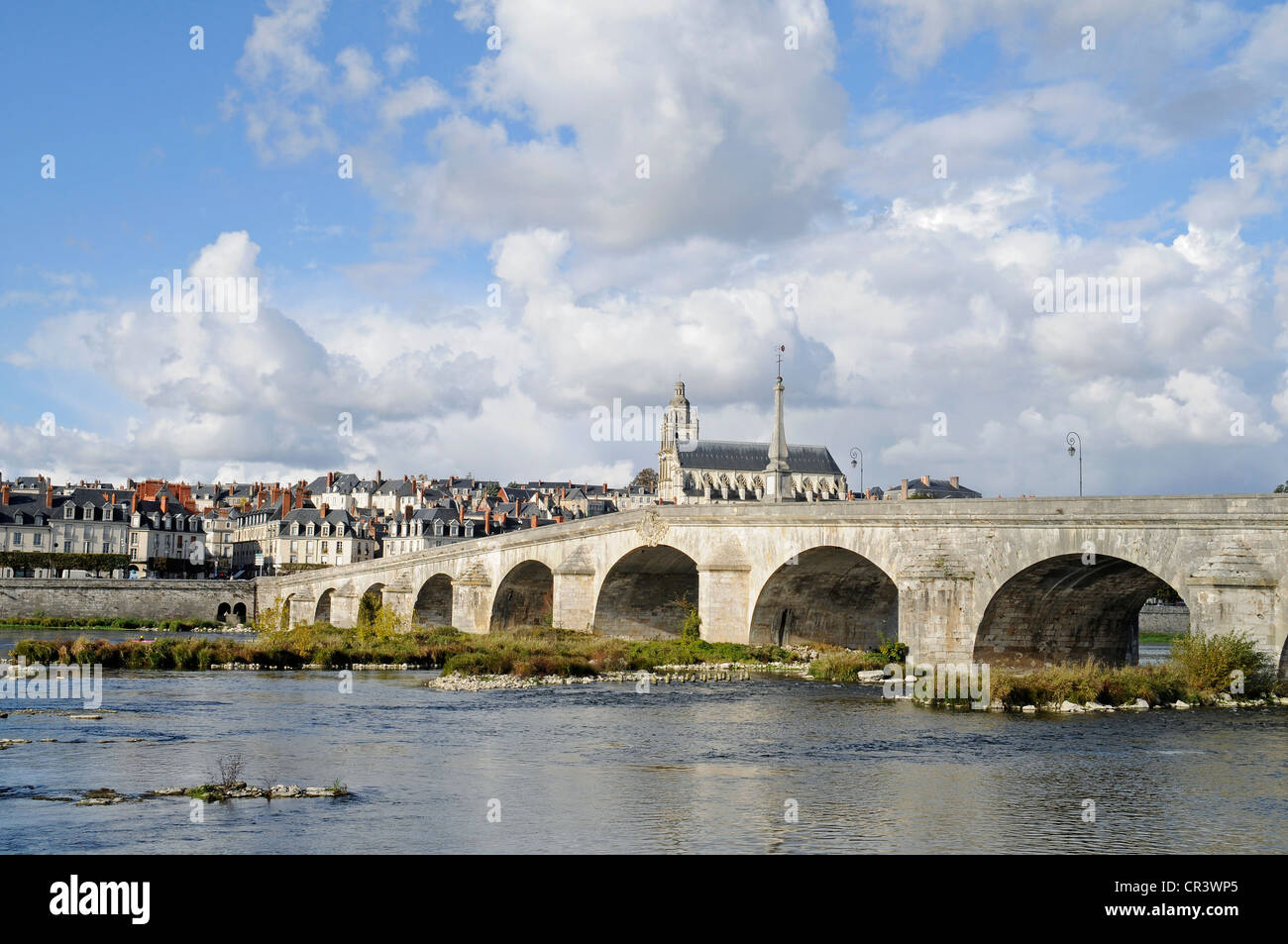 Pont Jacques Gabriel across the Loire river, Cathedrale Saint-Louis, Blois, Loir-et-Cher, Centre, France, Europe, - Stock Image