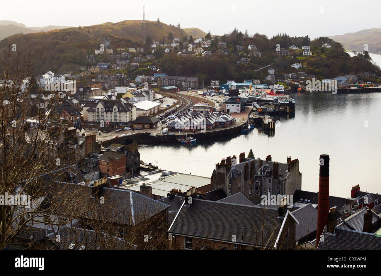 View over Oban from McCaigs Tower. Oban - Stock Image