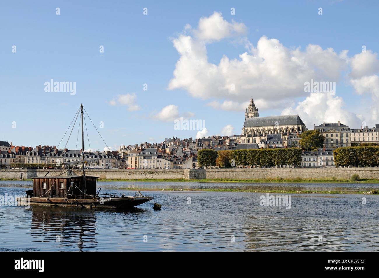 Cathédrale Saint-Louis de Blois, boat, Loire river, Blois, Loir-et-Cher, Centre, France, Europe, PublicGround - Stock Image
