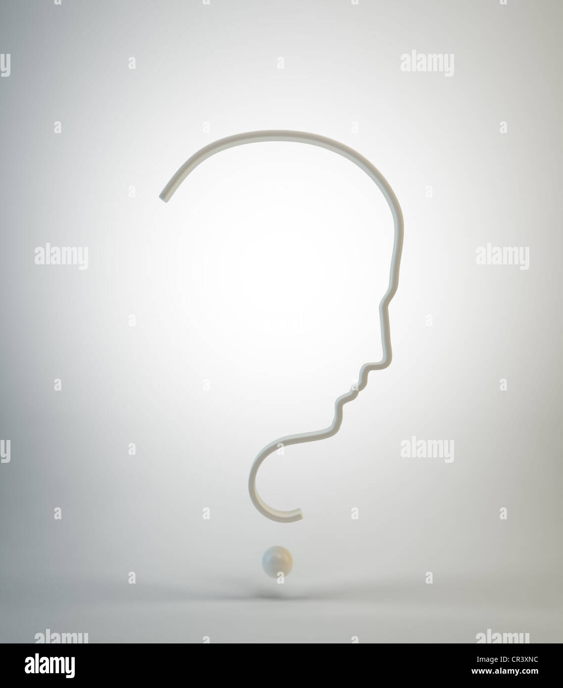 Question mark with a men's face silhouette - Stock Image