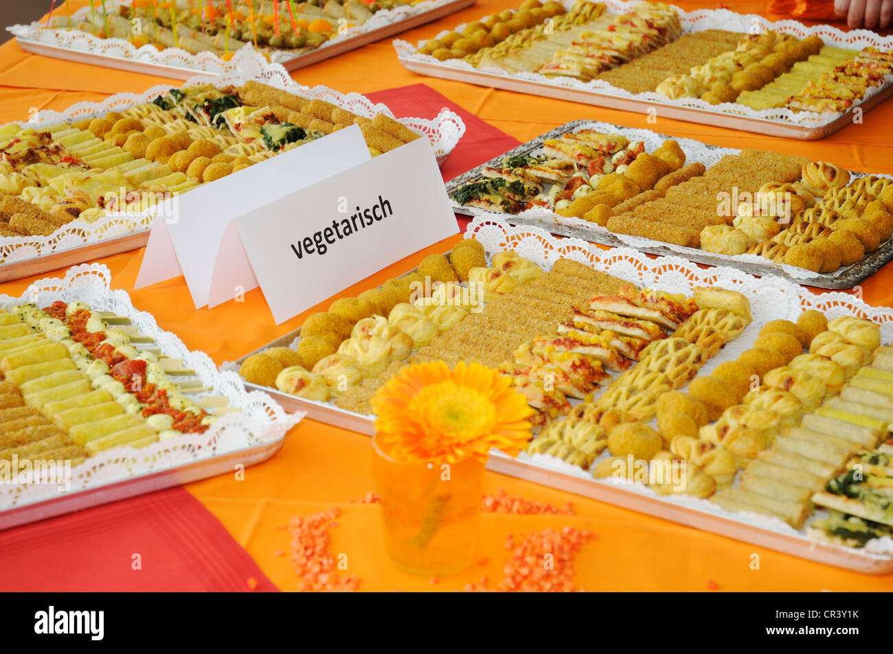 Canapés, appetizers, vegetarian buffet, catering - Stock Image