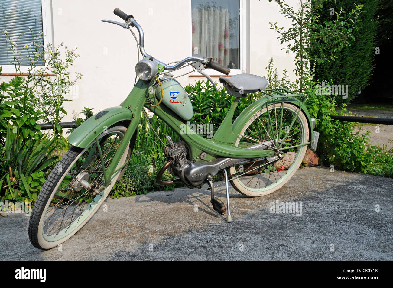 NSU Quickly moped, historic motor-assisted pedal cycle, autocycle, from the post-war era, Wirtschaftswunder era - Stock Image