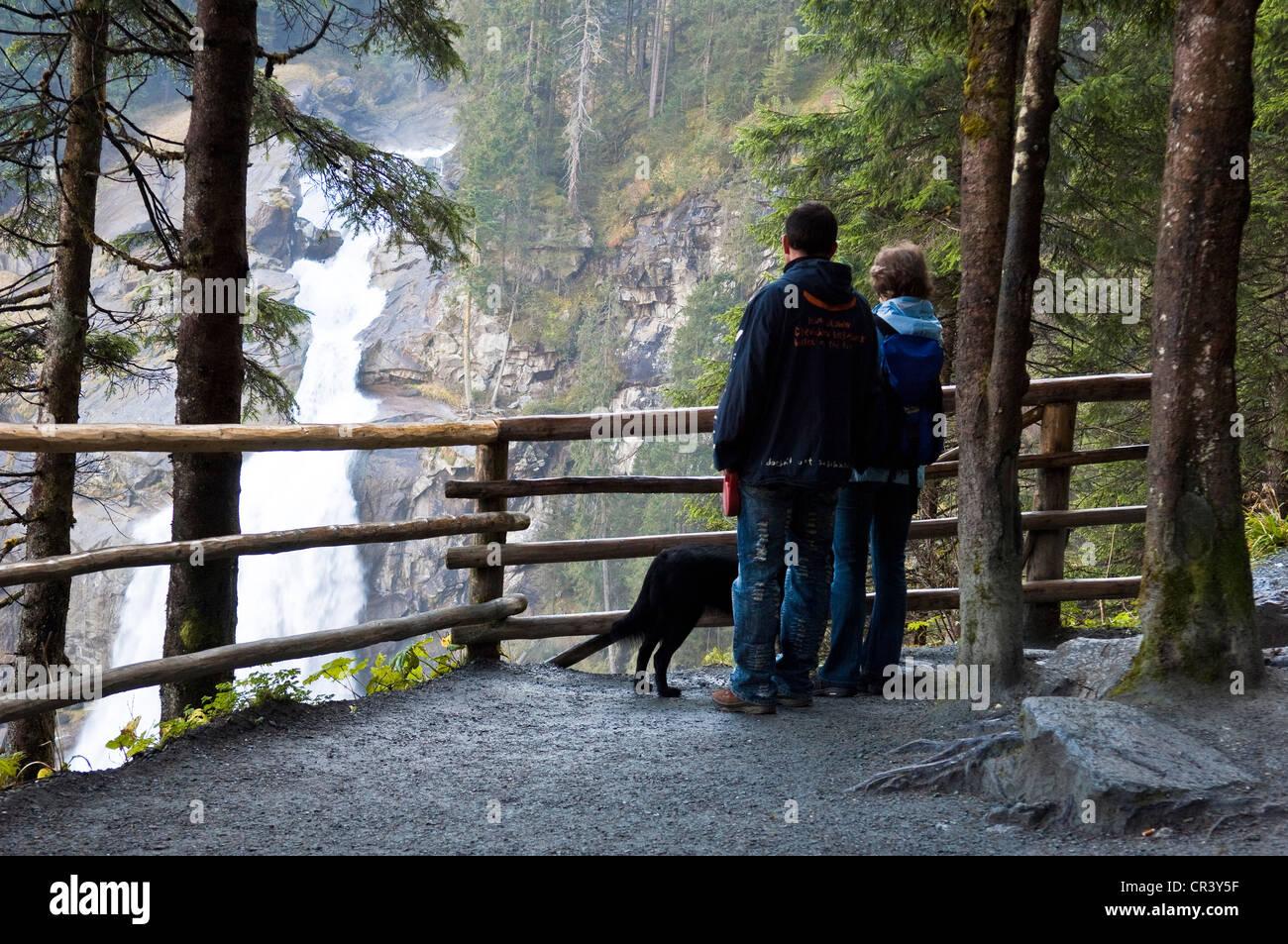 Austria, Salzburg Land, Krimml, Hohe Tauern national park, tourist circuit of Krimml waterfall, Krimmler Wasserfälle Stock Photo