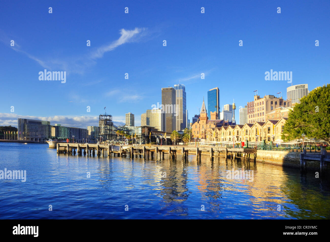 HDR shot of a beautiful sunny morning in Sydney, Australia, with Circular Quay and The Rocks. - Stock Image