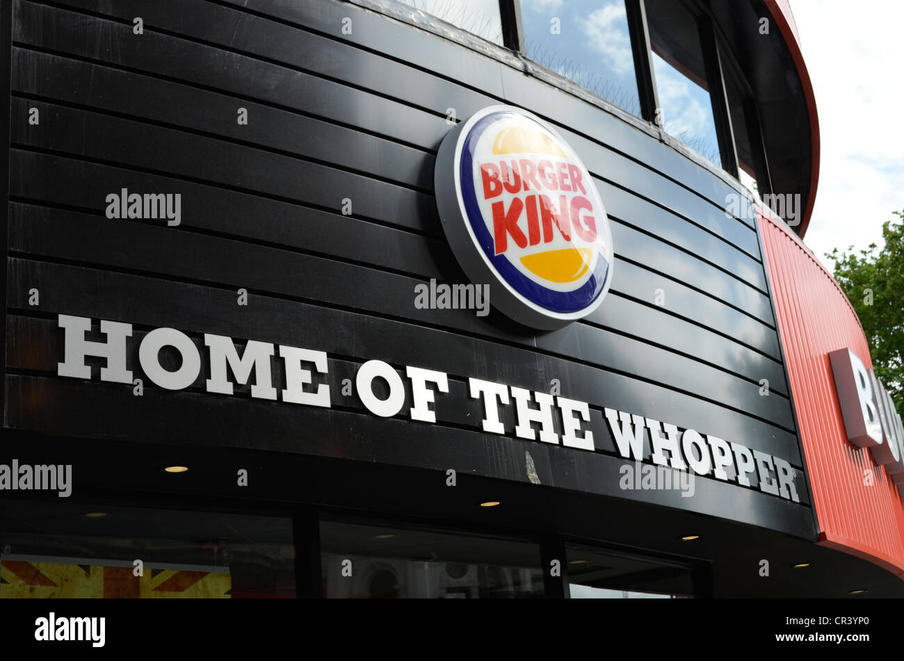 Home of the whopper sign in London's Leicester square Burger King - Stock Image
