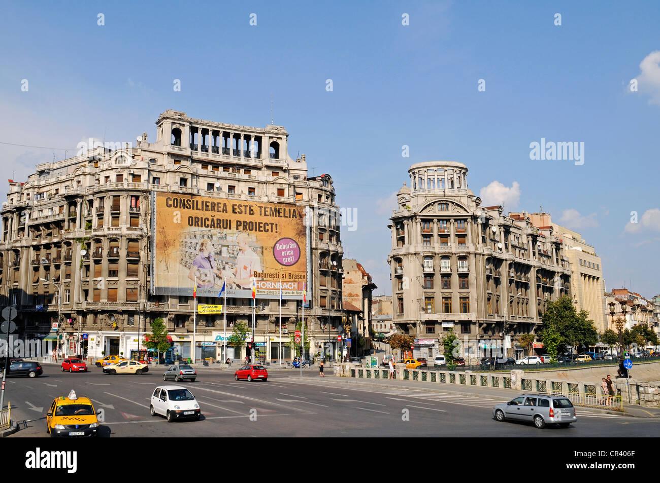 Multistorey buildings, billboard, street scene, Piata Natiunile Unite square, Bucharest, Romania, Eastern Europe, - Stock Image