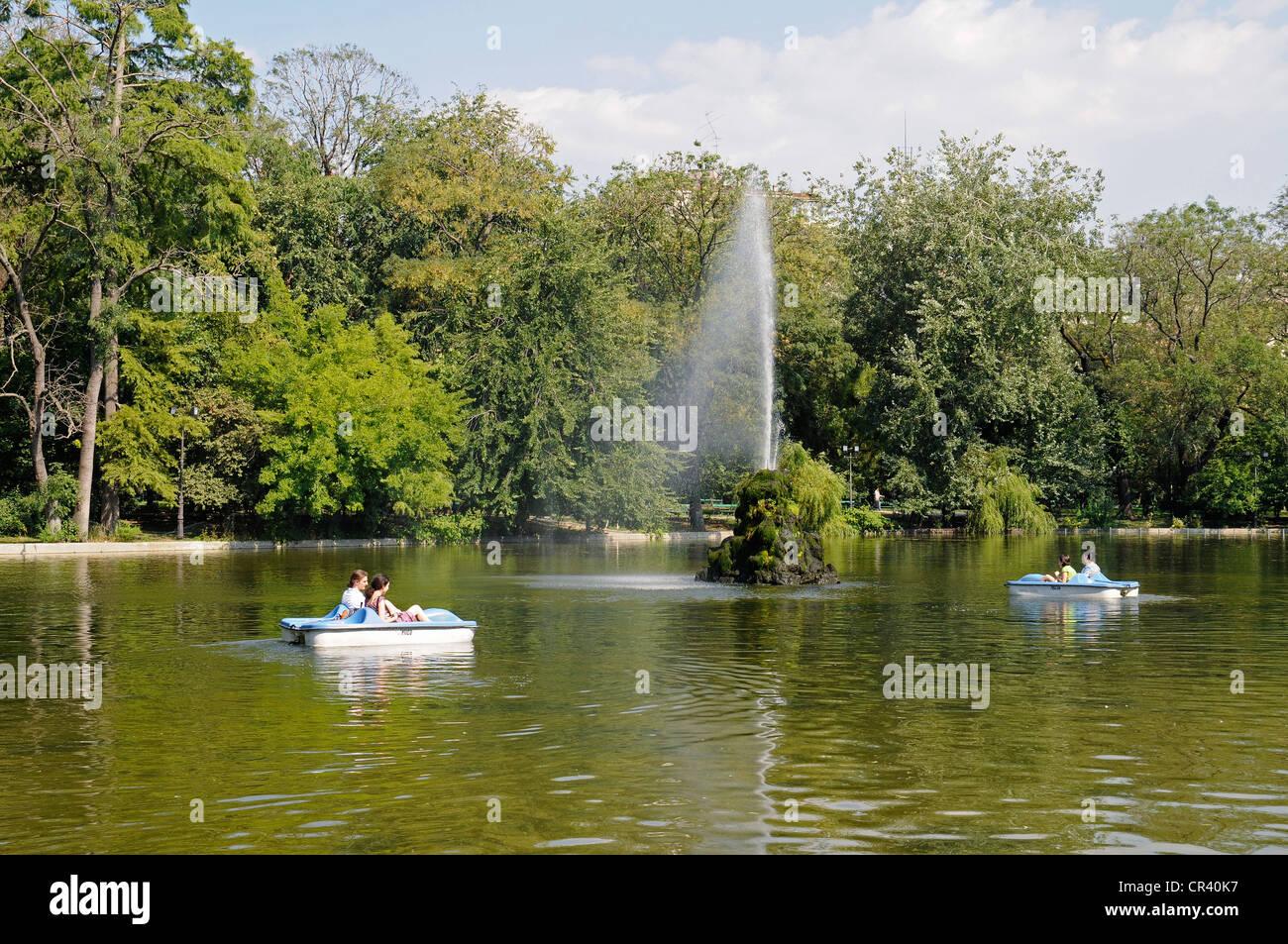 Pedal boats, lake, Cișmigiu Gardens, Bucharest, Romania, Eastern Europe, Europe, PublicGround - Stock Image
